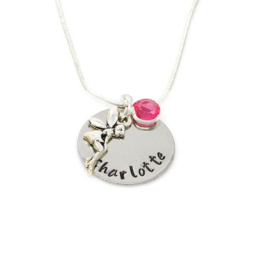 Personalised Birthstone Necklace with Fairy Angel  Charm – Gift Boxed & Free Delivery UK